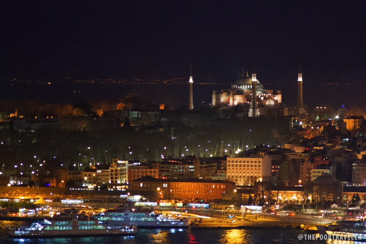 Hagia Sophia at Night as viewed from Galata Tower