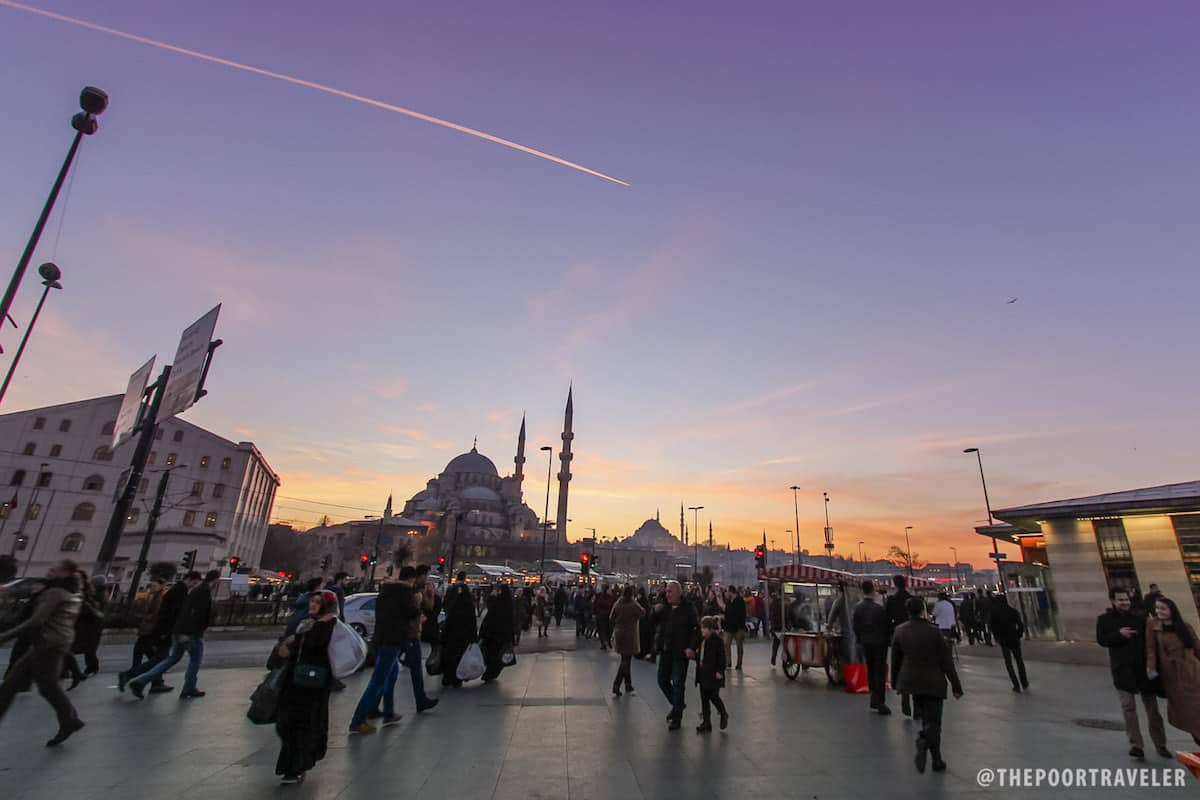 Istanbul's New Mosque at sunset