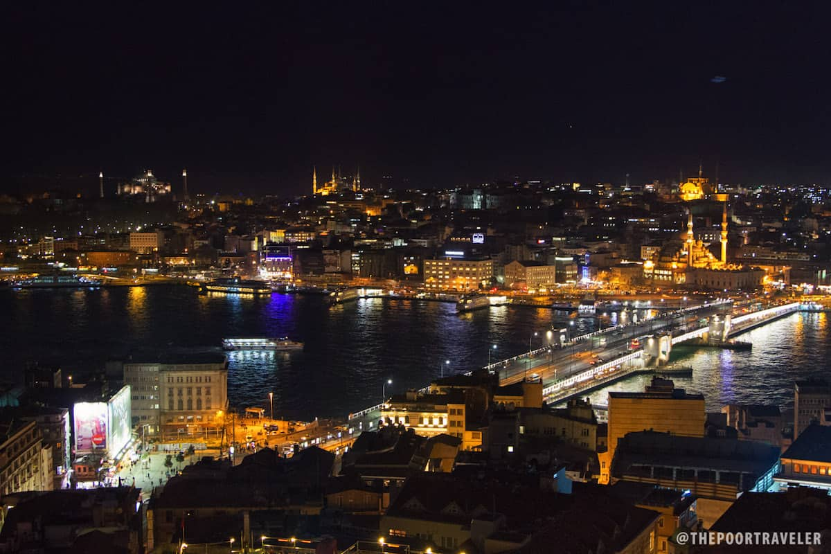 Istanbul at Night as seen from Galata Tower