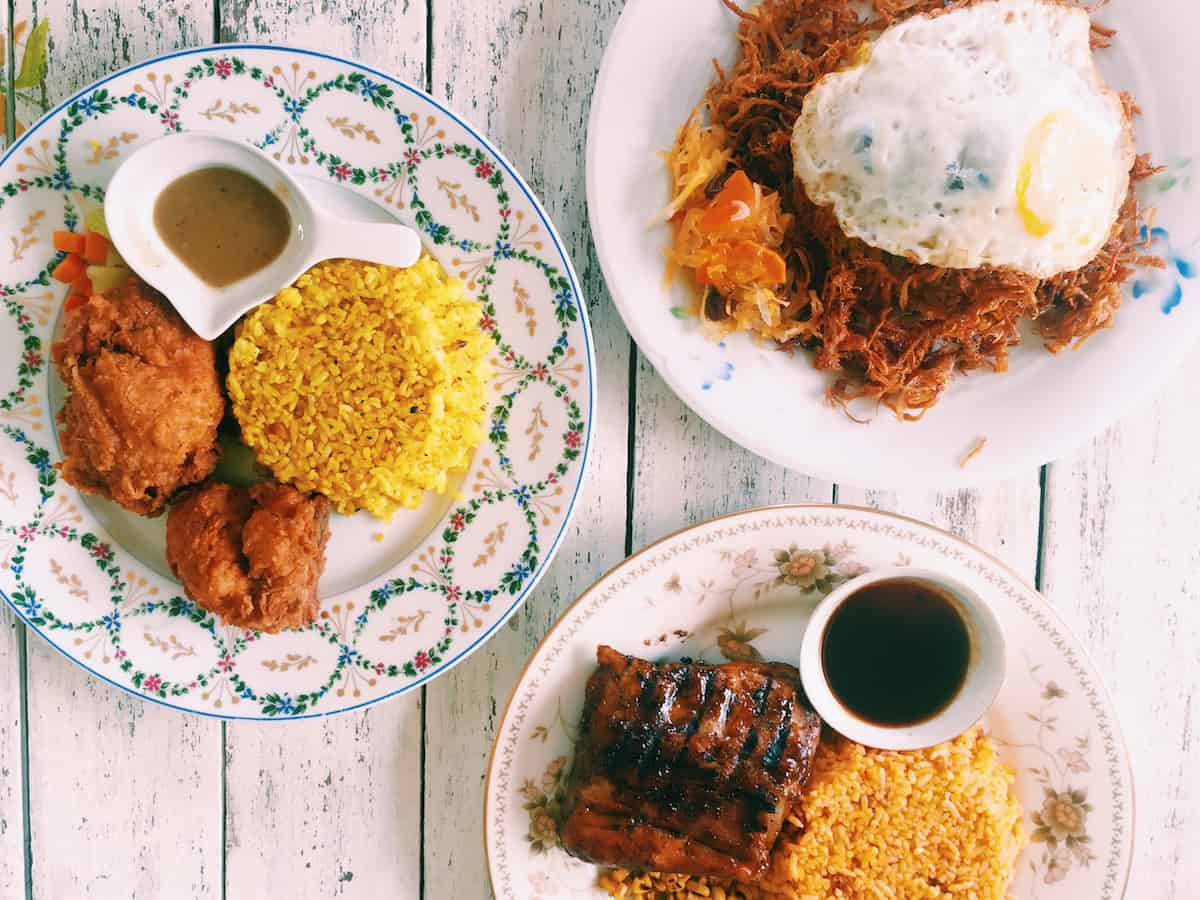 Ranch Style Fried Chicken (P250), Adobo sa Dilaw Flakes (P200), and Jack Daniel's Baby Back Ribs (P350)