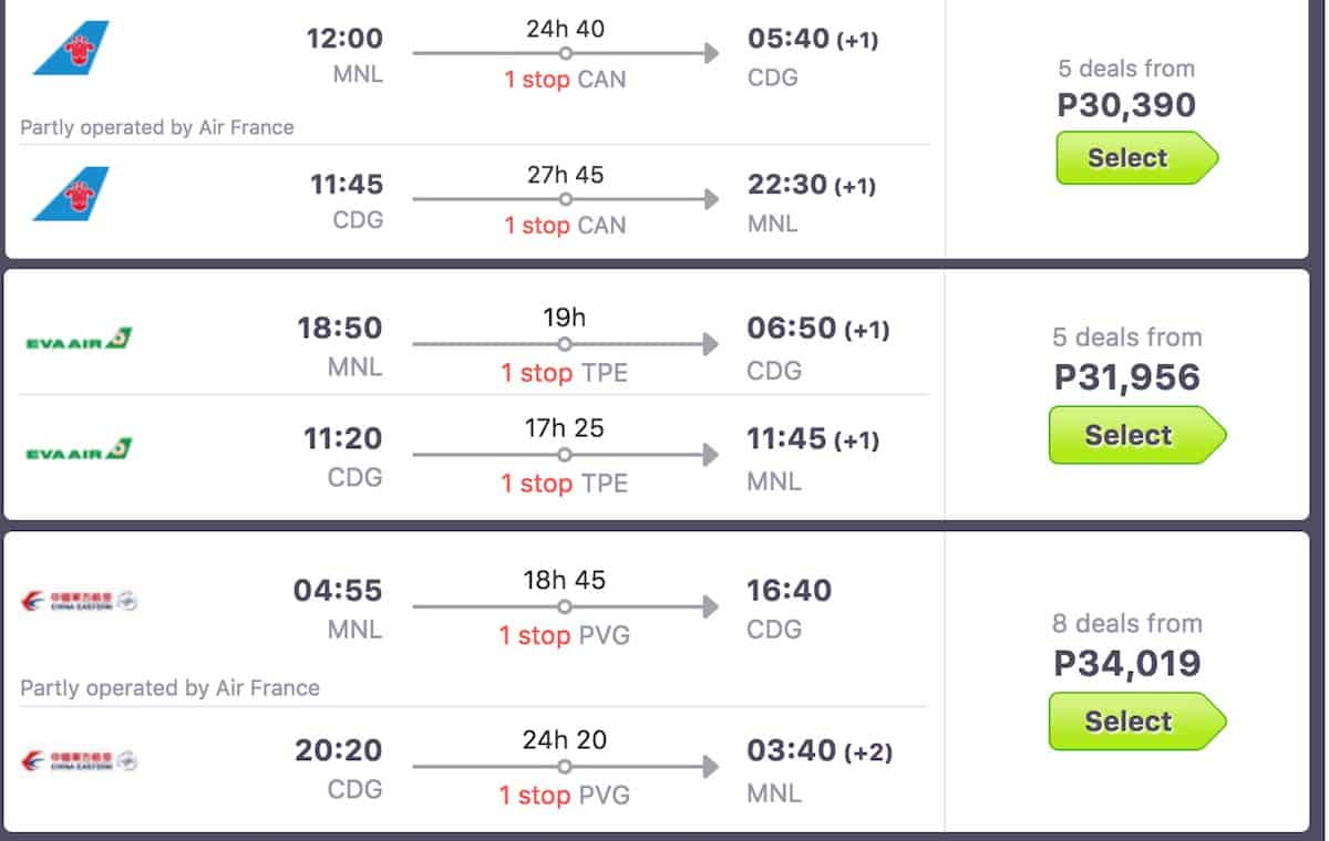 skyscanner-paris-rates