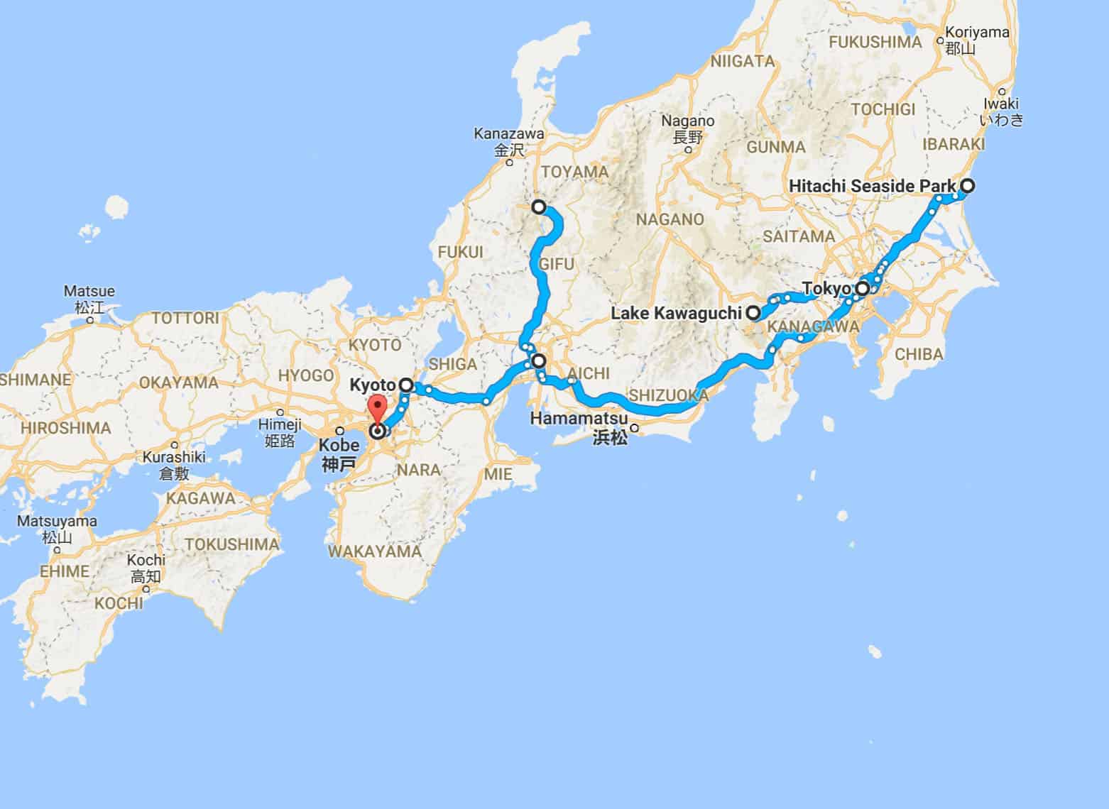 Japan Backpacking Route