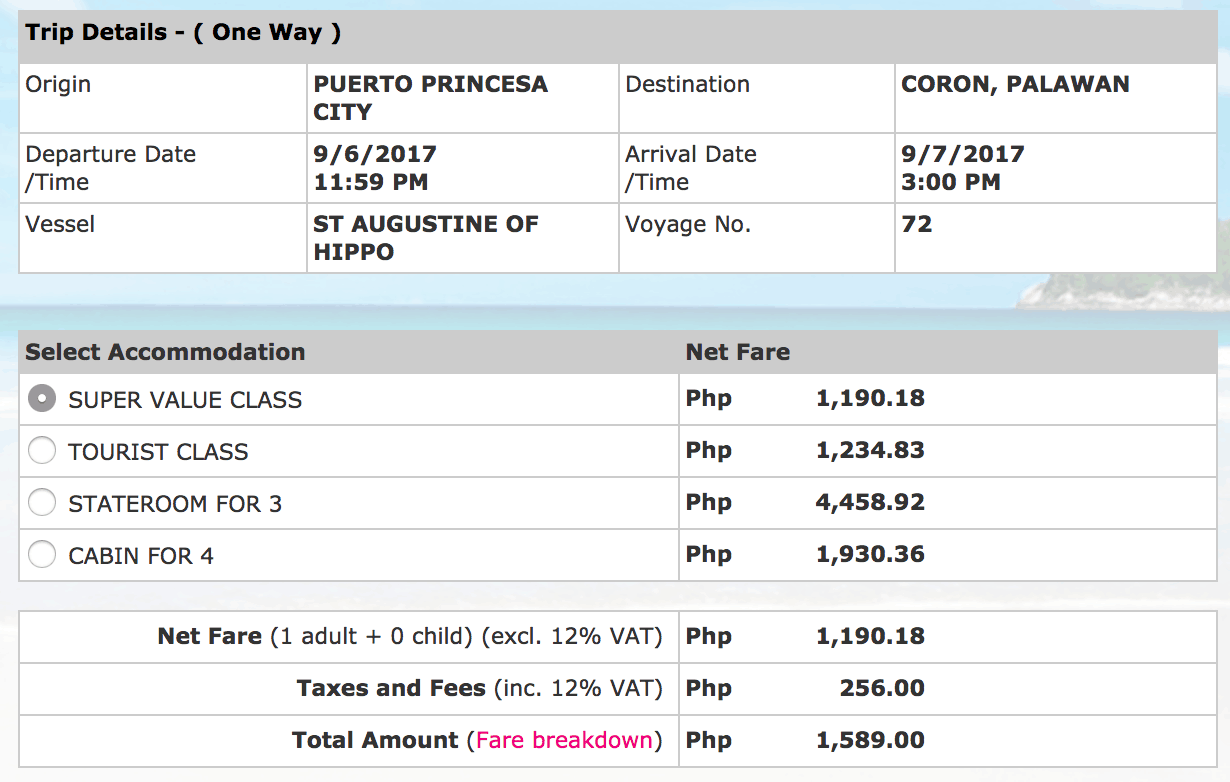 2GO Travel Puerto Princesa to Coron