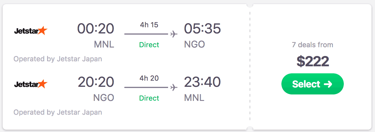 Jetstar - Manila to Nagoya Round Trip