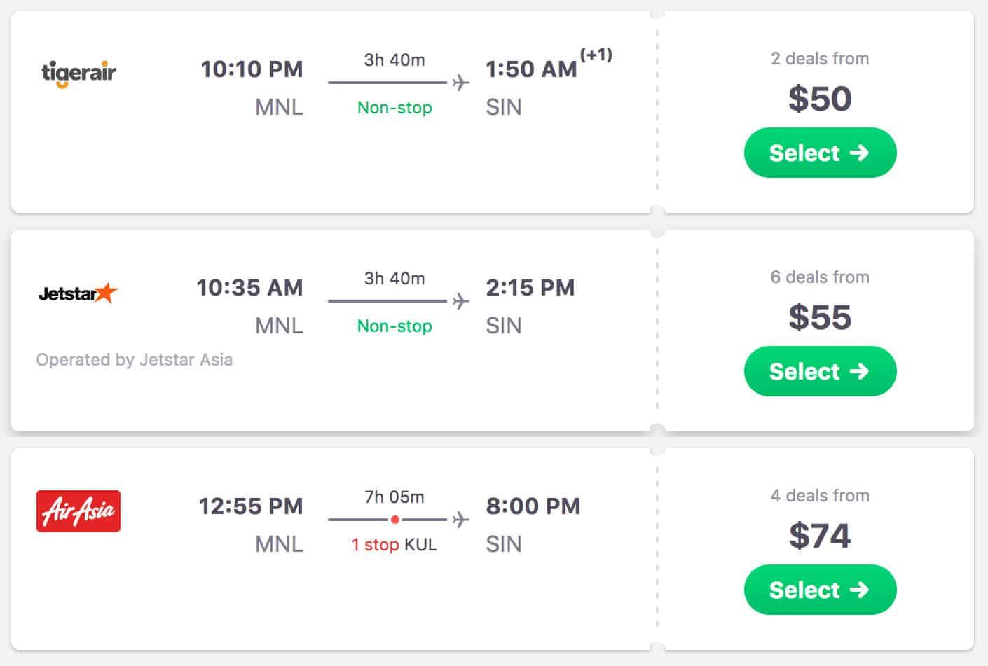 Manila to Singapore Flights
