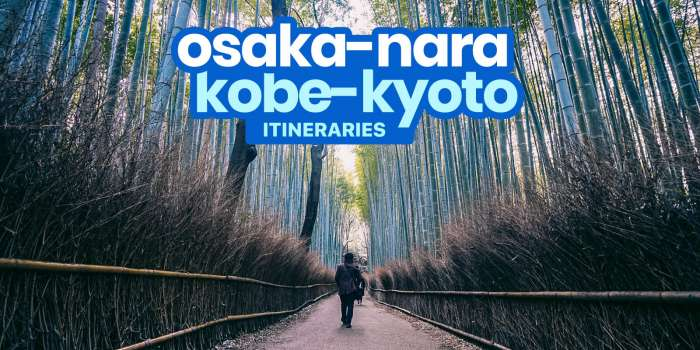 Sample OSAKA-KYOTO-NARA-KOBE DIY Itinerary: 4, 5, 6 Days