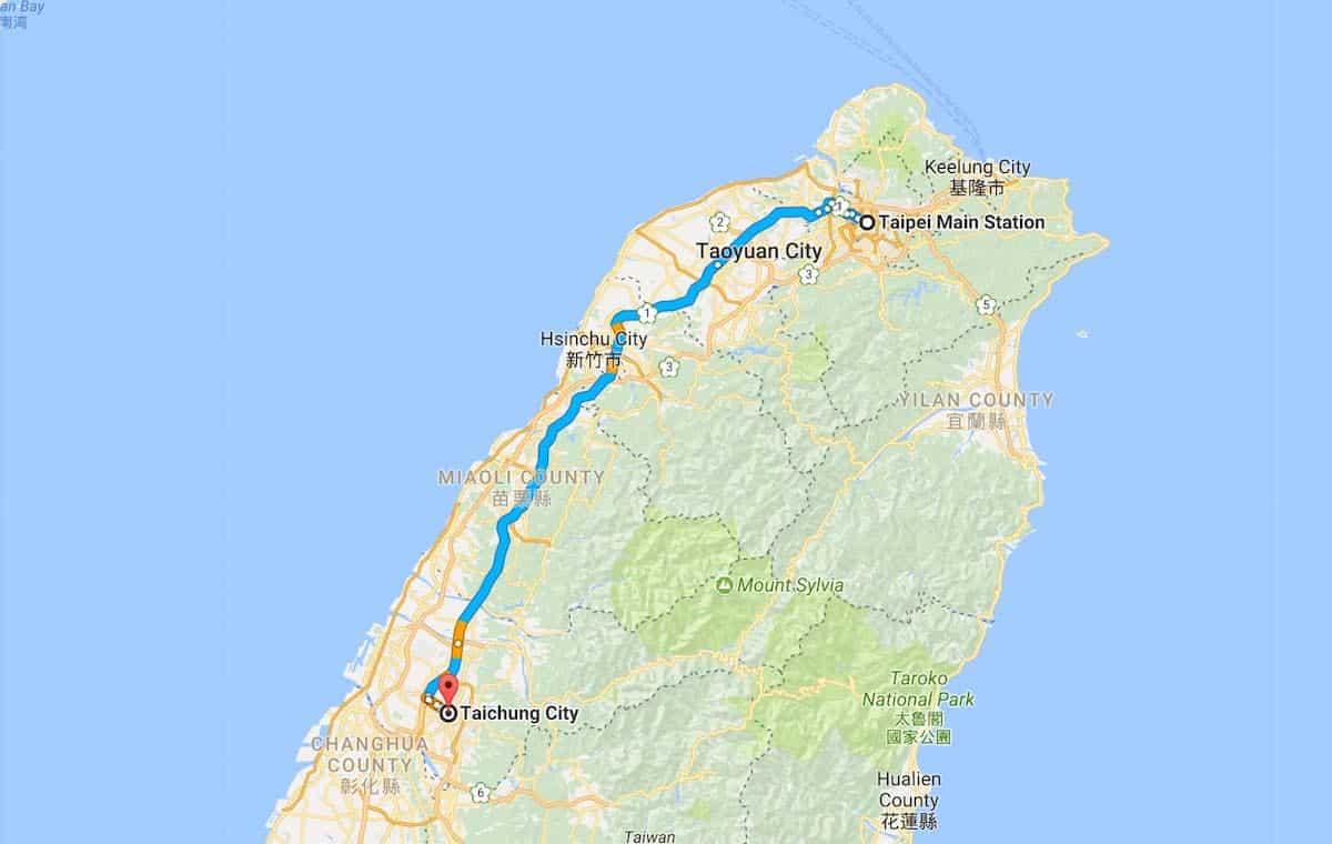 Taiwan to Taichung