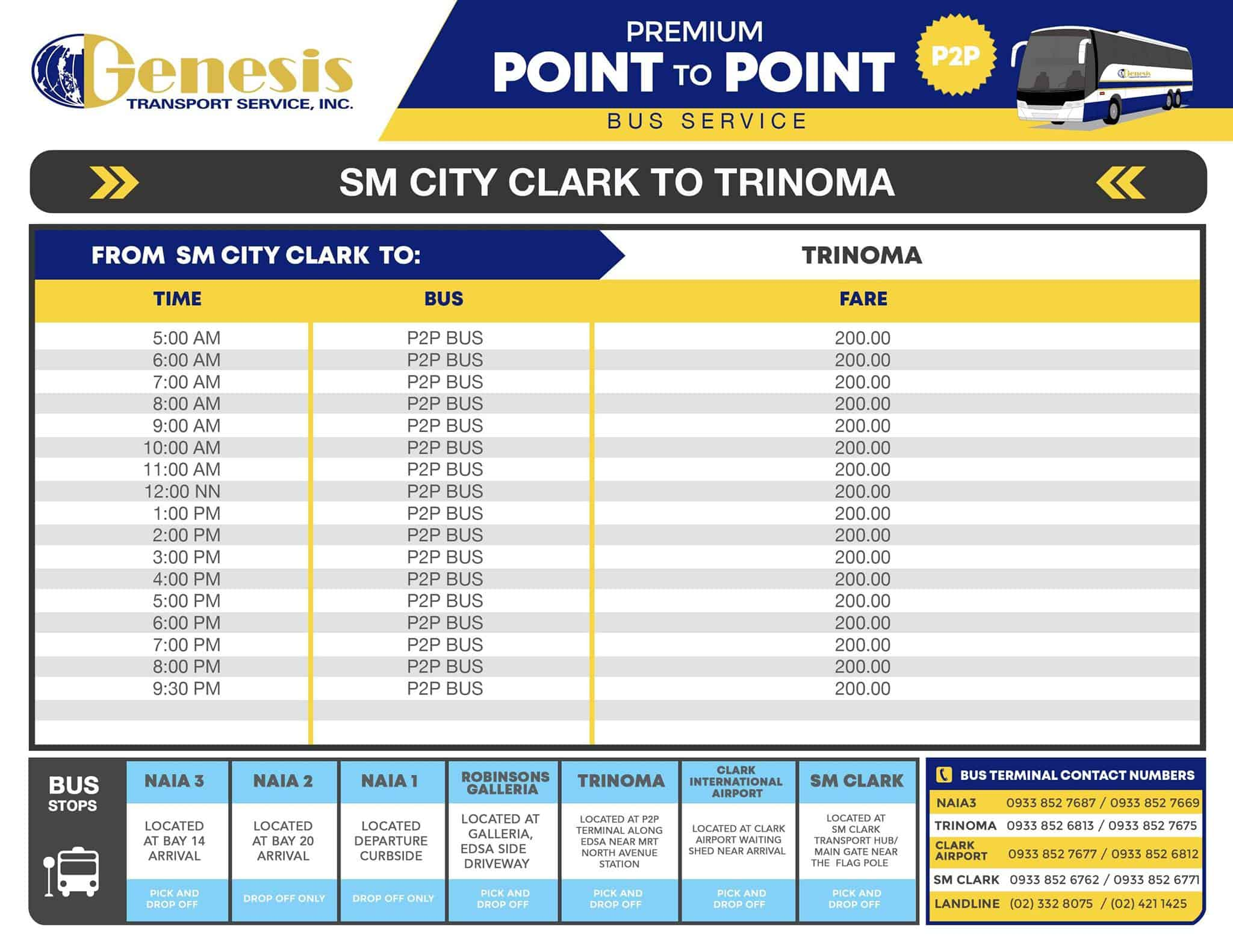 P2P BUS CLARK & MANILA: Schedule, Stops & Fares | The Poor Traveler