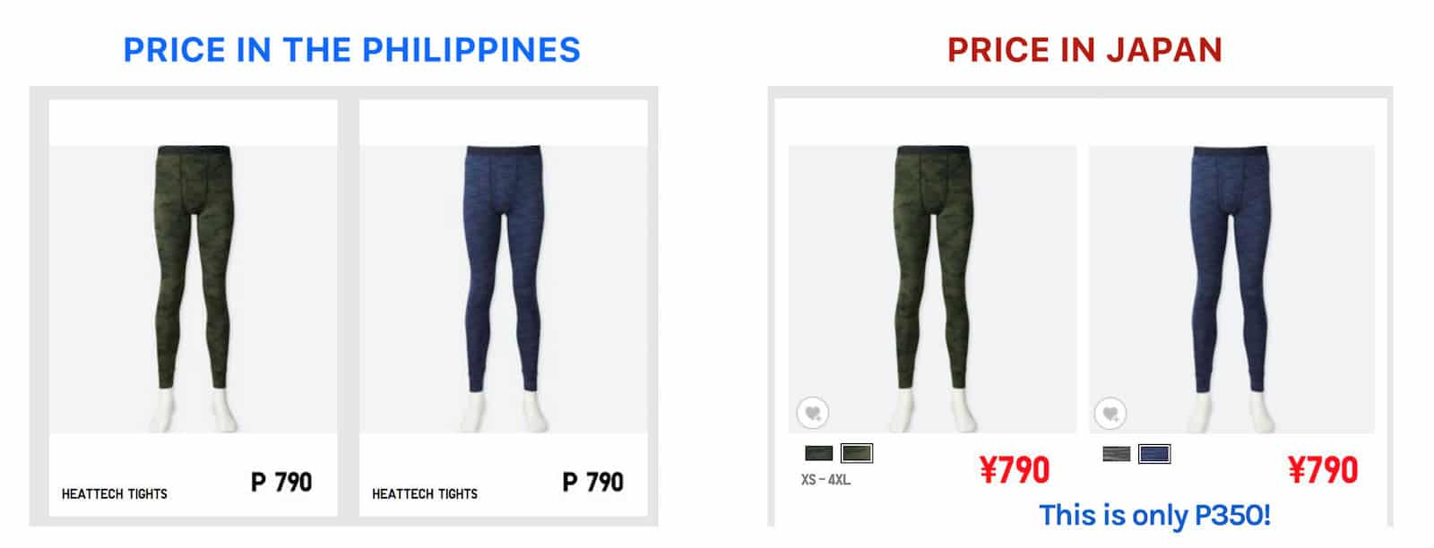 cb2a5bc12 For example, the bottom tights or leggings that cost P790 at UNIQLO in  Manila, they cost only 790 YEN in Japan. ¥790 is equal to only P350.