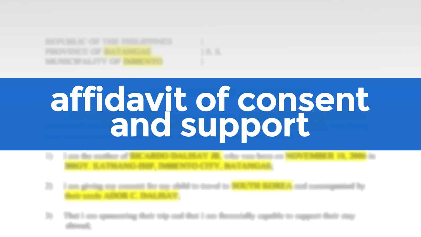 AFFIDAVIT OF CONSENT AND SUPPORT (FREE SAMPLE)