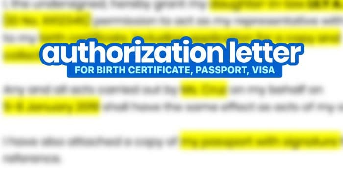 Sample AUTHORIZATION LETTERS