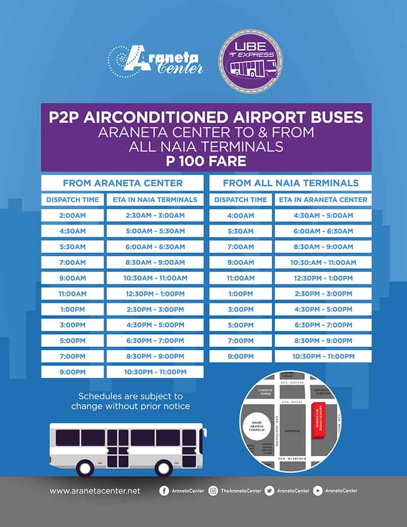 UBE Express P2P BUS Schedule: NAIA to CUBAO and ORTIGAS