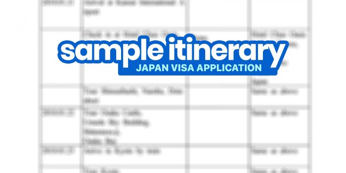 SAMPLE ITINERARY for JAPAN VISA Application (Schedule of Stay)