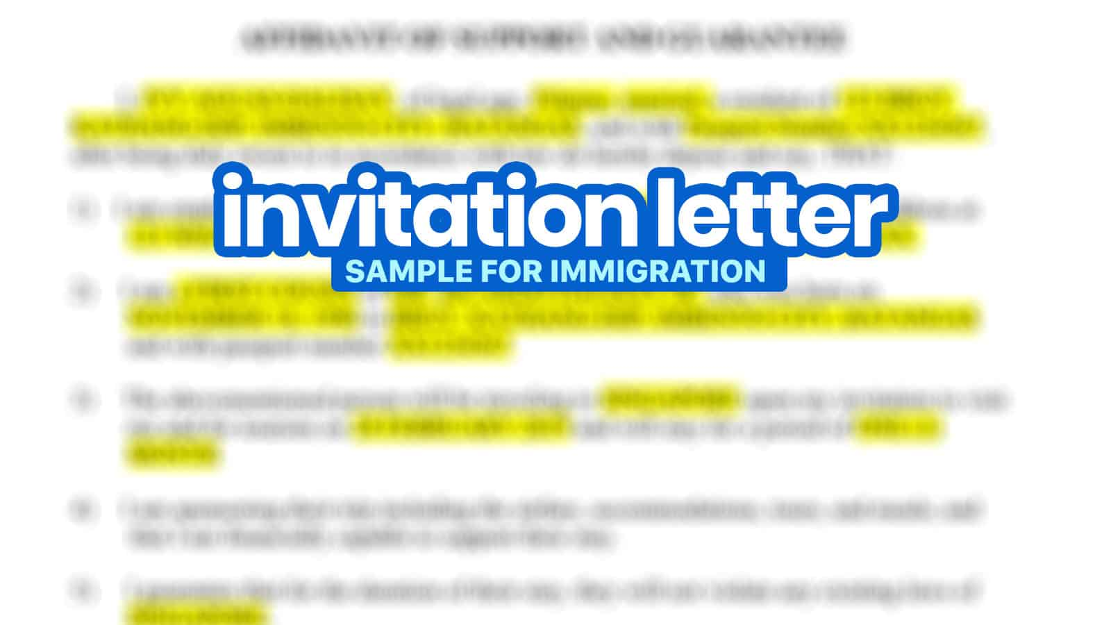 Sample INVITATION LETTER FOR IMMIGRATION: Affidavit of Support and Guarantee