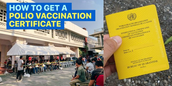How to Get a POLIO VACCINATION CERTIFICATE from the Bureau of Quarantine