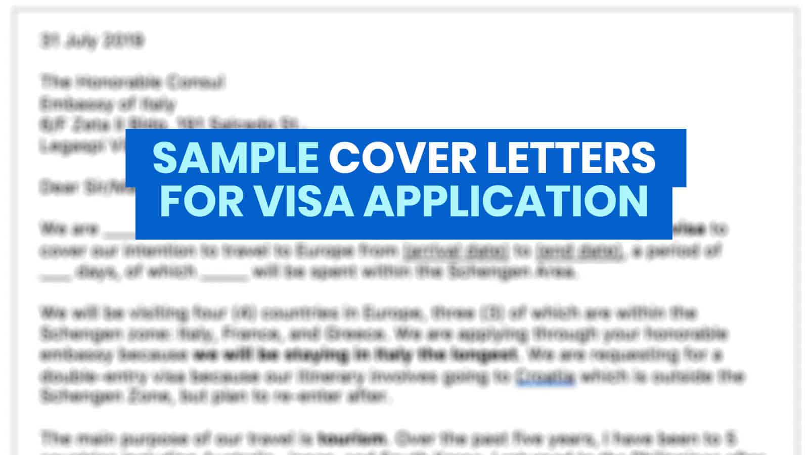 SAMPLE COVER LETTERS for VISA APPLICATION: Korea, Schengen, Australia
