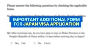 IMPORTANT JAPAN VISA UPDATE: Additional NCOV/COVID-19 Form to be Submitted