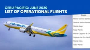 CEBU PACIFIC: List of Operational Flights for June 4-7, 2020