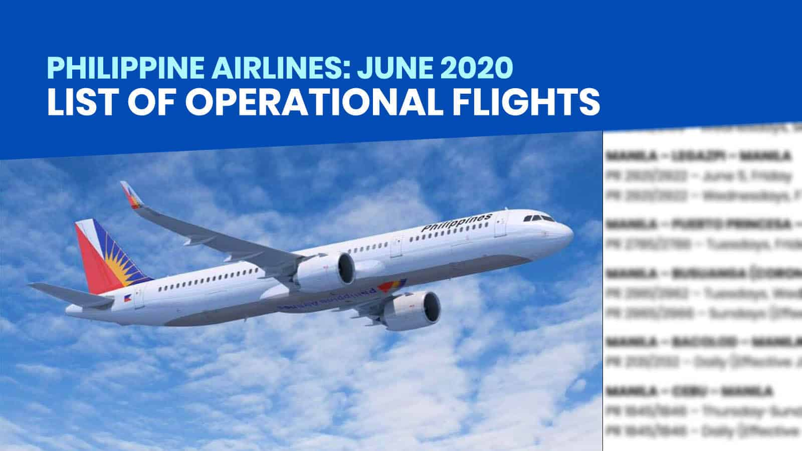 PHILIPPINE AIRLINES: List of Operational Flights for June 2020