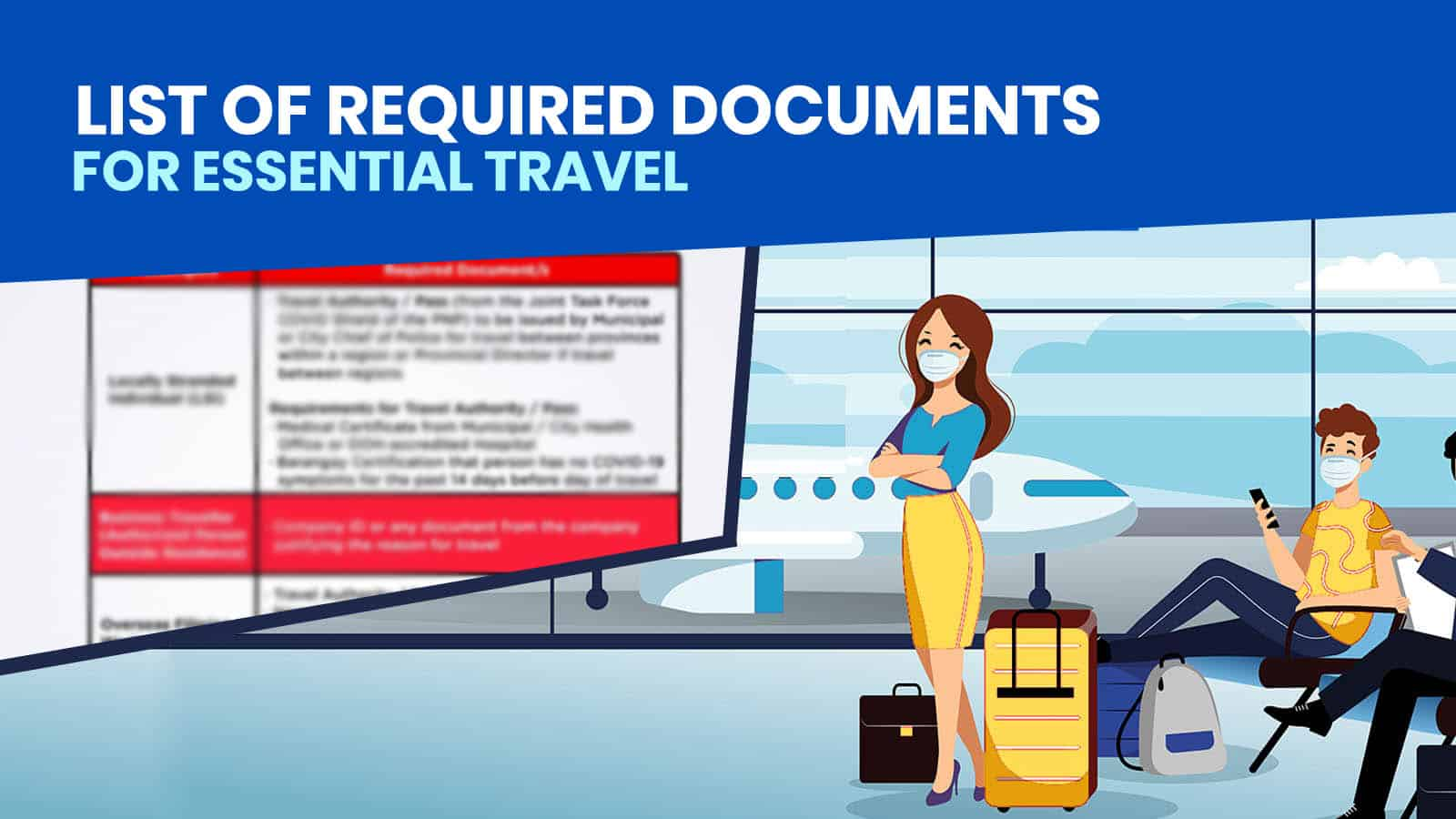 List of REQUIREMENTS for Essential Travel: Philippine Airlines, Cebu Pacific, AirAsia