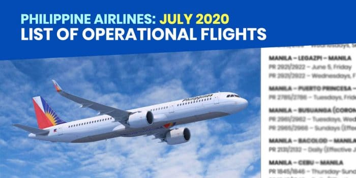 PHILIPPINE AIRLINES: List of Operational Flights for JULY 2020