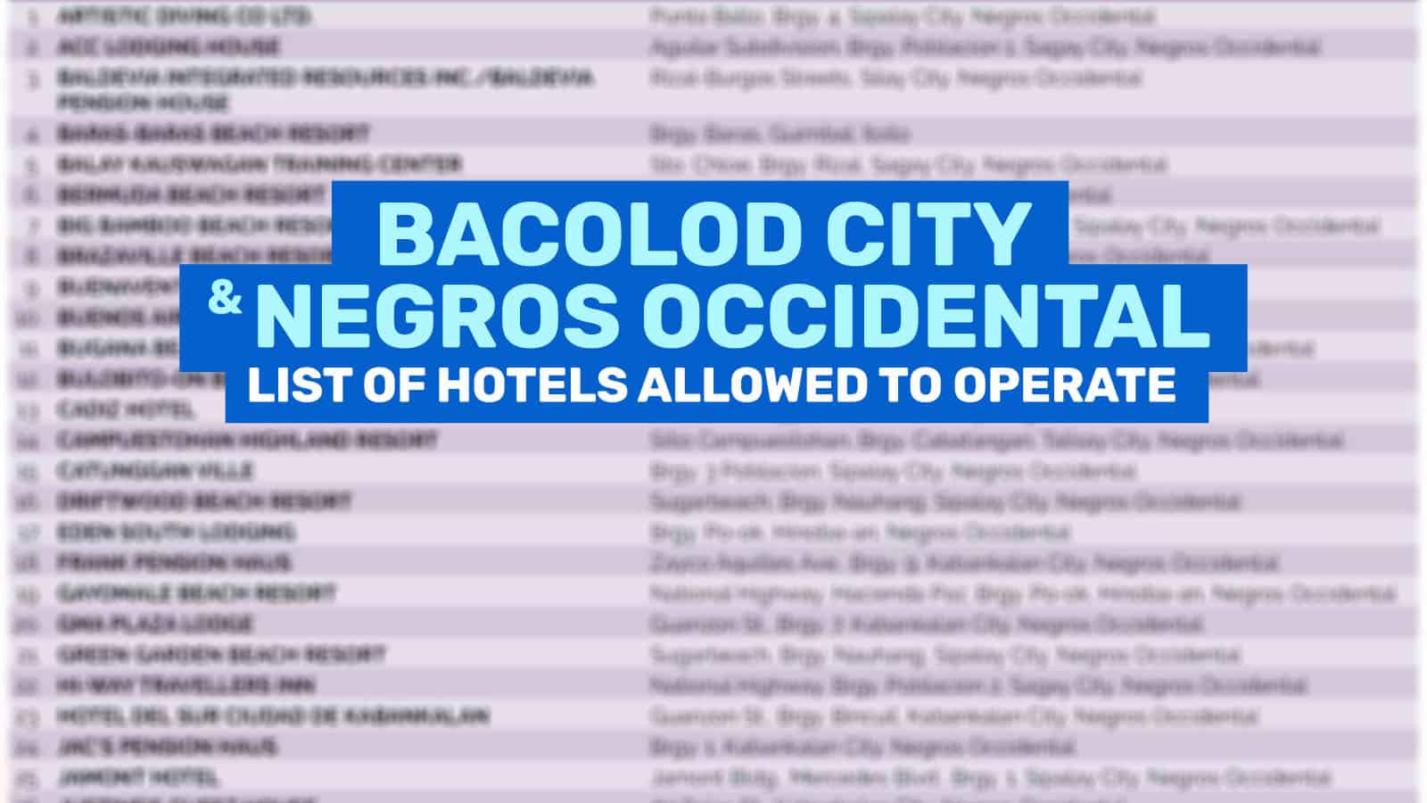 BACOLOD & NEGROS OCCIDENTAL: List of Hotels & Resorts Allowed to Operate