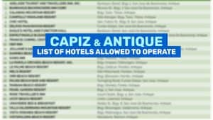 ANTIQUE & CAPIZ: List of Hotels & Resorts Allowed to Operate