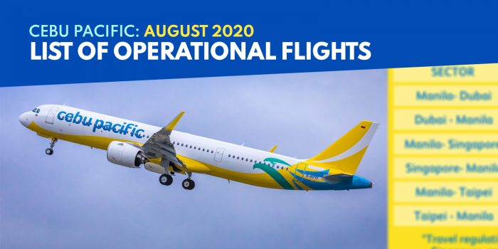 CEBU PACIFIC: List of Operational Flights starting AUGUST 19, 2020