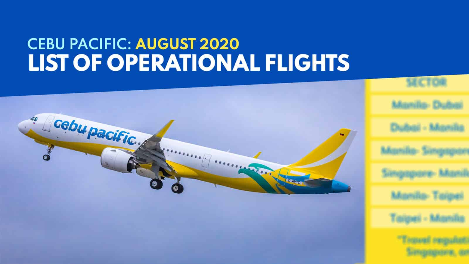 CEBU PACIFIC: List of Operational Flights for AUGUST 4-18 2020