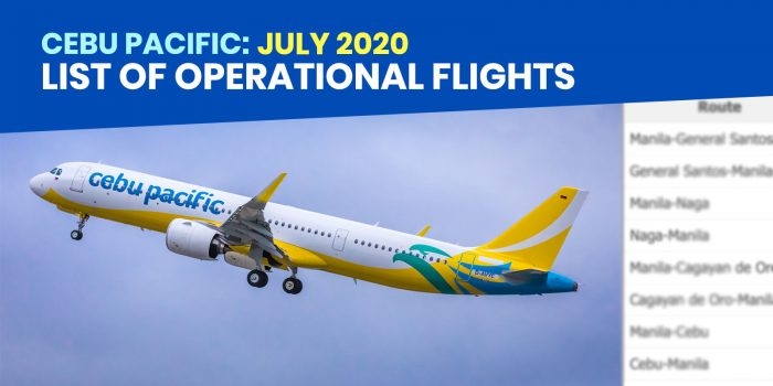 CEBU PACIFIC: List of Operational Flights for JULY 2020