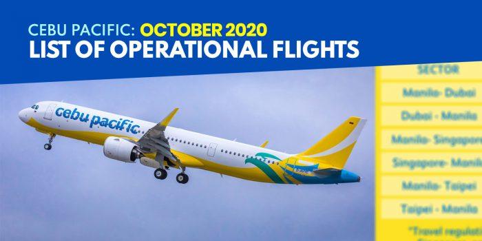 CEBU PACIFIC: List of Operational Flights for OCTOBER 2020