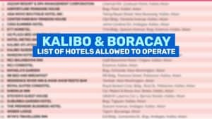 KALIBO & BORACAY: List of Hotels & Resorts Allowed to Operate