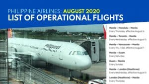 PHILIPPINE AIRLINES: List of Operational Flights for AUGUST 2020
