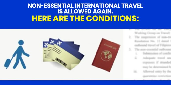 Requirements for Non-Essential International Travel for Filipinos