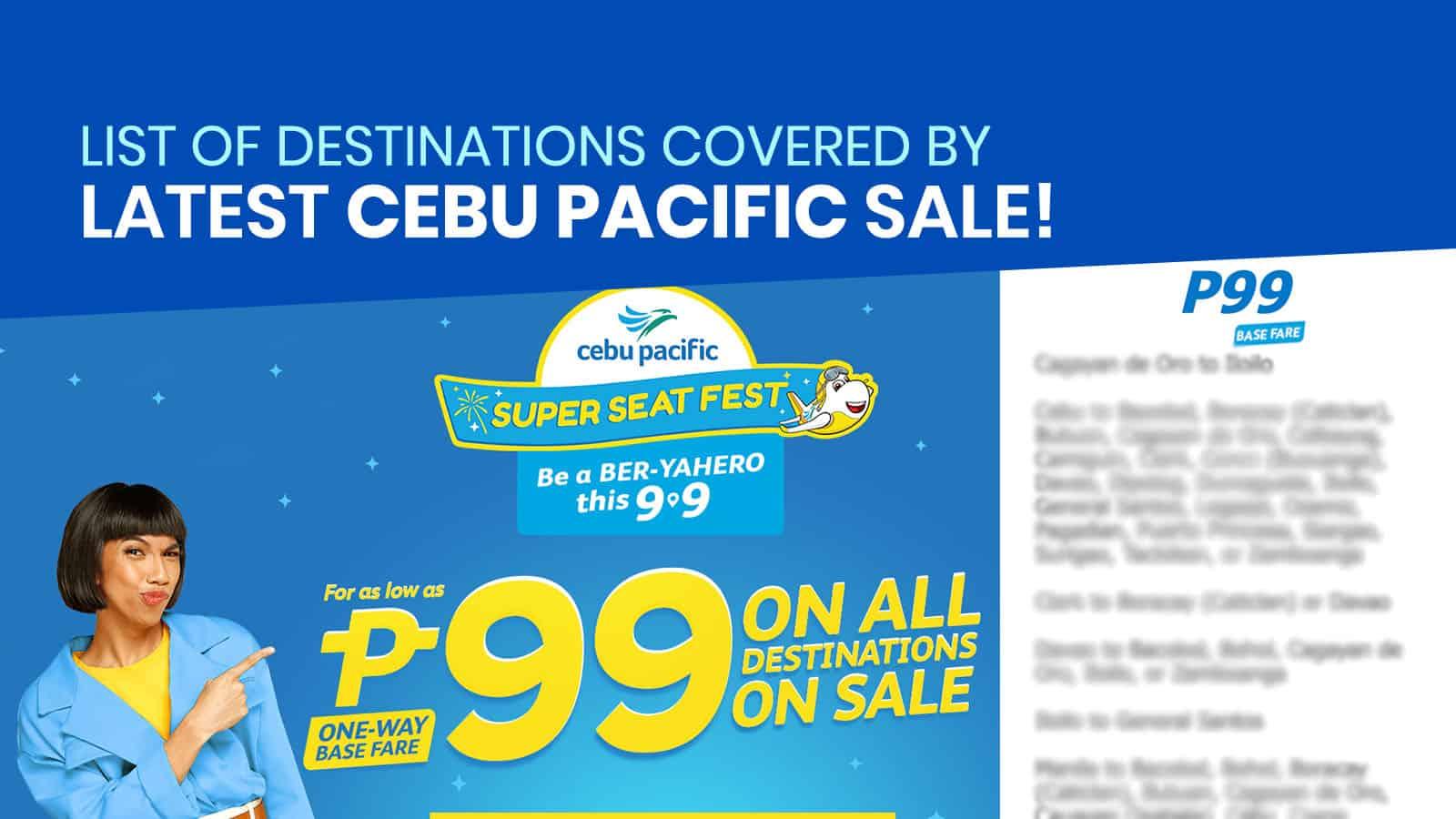 CEBU PACIFIC PROMO: P99 SUPER SEAT SALE